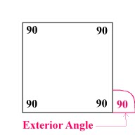 A geometry glossary for k6 math for Exterior of an angle definition