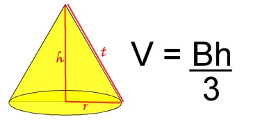 formula for volume of a  cone