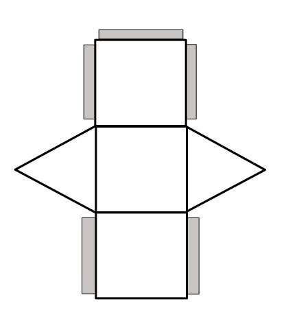 Rectangular Prism Net With Tabs